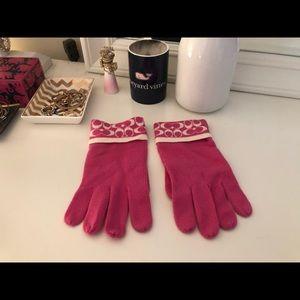 Pink coach gloves
